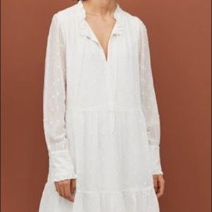 NWT white long sleeve embroidered dress